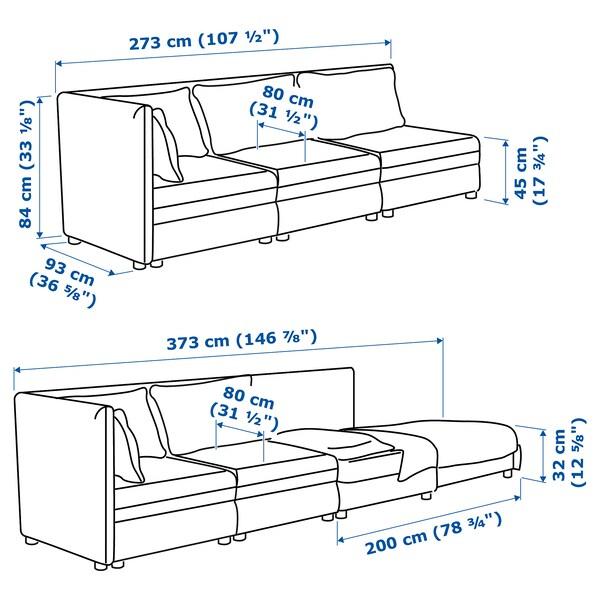 VALLENTUNA 3-sitsig modulsoffa med bäddsoffa, med öppet slut/Murum vit