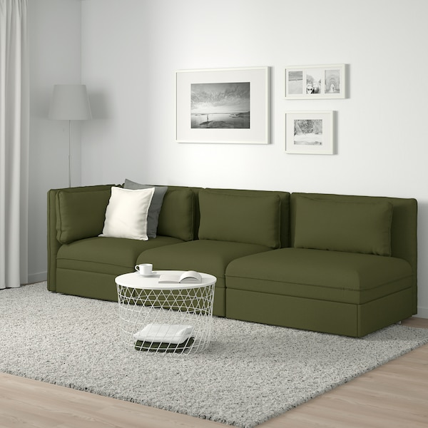 VALLENTUNA 3-sitsig modulsoffa med bäddsoffa, med öppet slut/Orrsta olivgrön