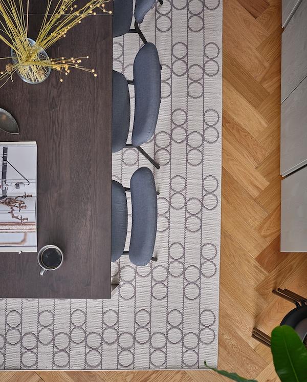 VANGSTA Utdragbart bord, svart/mörkbrun, 120/180x75 cm