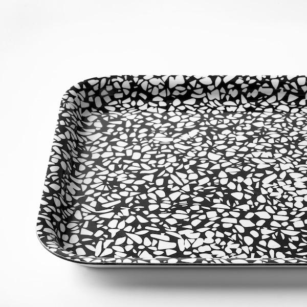 VÅRKUL Bricka, svart/mönstrad, 28x20 cm