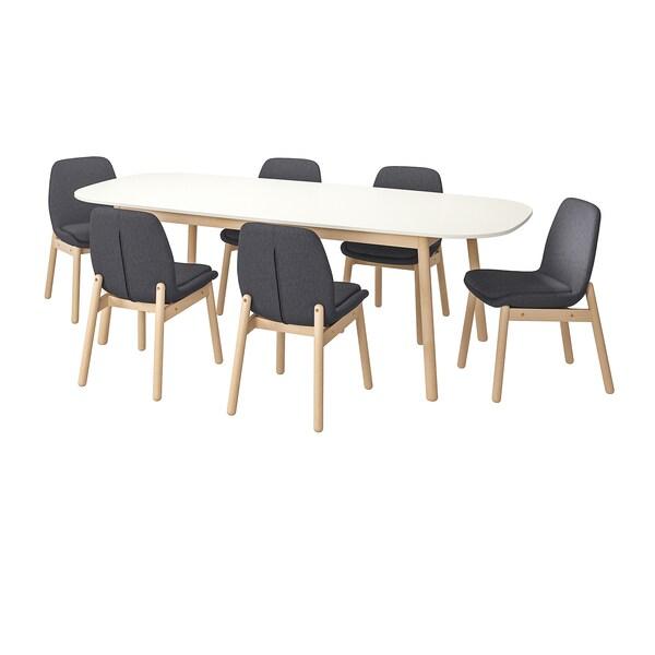 VEDBO Bord och 6 stolar vitbjörk IKEA