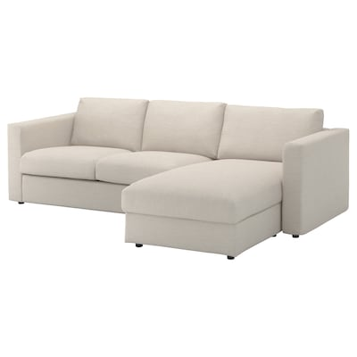 VIMLE 3-sitssoffa med schäslong/Gunnared beige 83 cm 68 cm 164 cm 252 cm 98 cm 125 cm 6 cm 15 cm 68 cm 222 cm 55 cm 48 cm