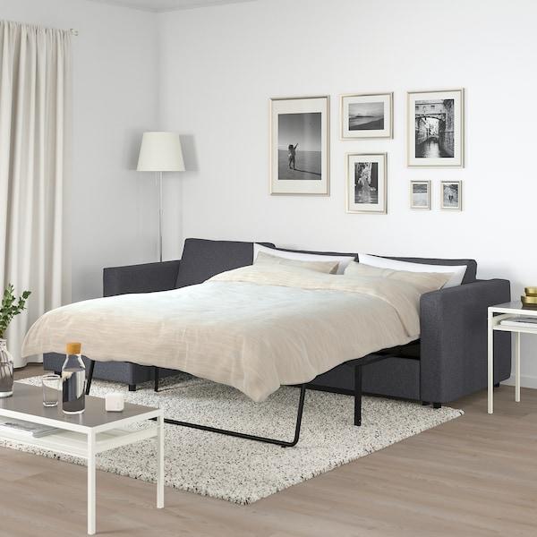 VIMLE 3-sits bäddsoffa med schäslong, Gunnared mellangrå