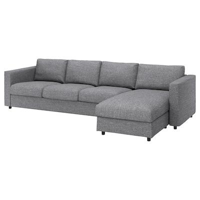 VIMLE 4-sitssoffa, med schäslong/Lejde grå/svart