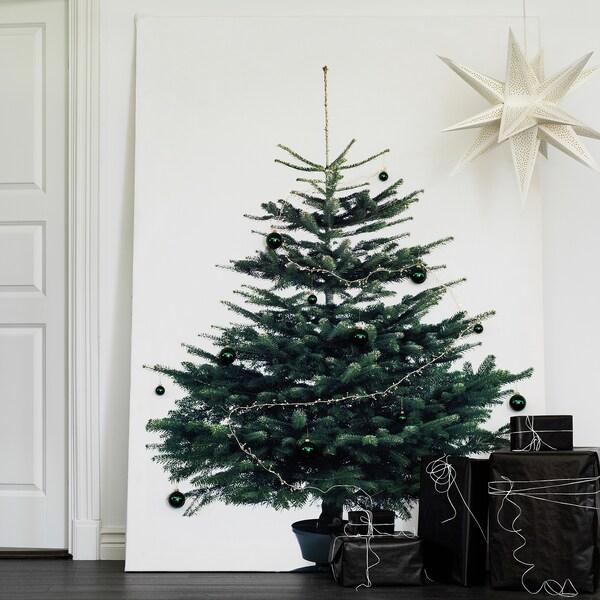 VINTER 2020 Avpassad tyglängd, julgran vit/grön, 150x220 cm