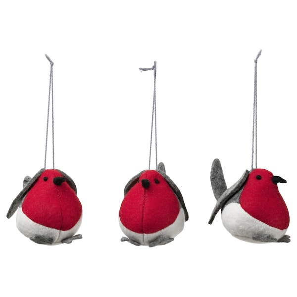 VINTER 2020 Dekoration, hängande, fågel röd, 5 cm