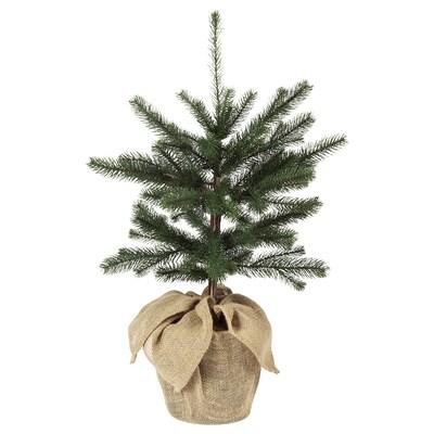 VINTER 2020 Konstgjord krukväxt, inom-/utomhus jute/julgran grön, 19 cm