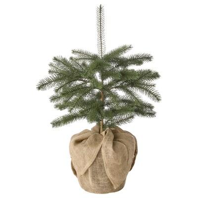 VINTER 2021 Konstgjord krukväxt, inom-/utomhus jute/julgran grön, 19 cm