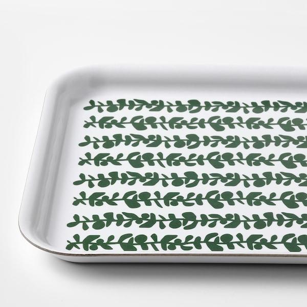 VINTERSNÖ Bricka, mönstrad/grön, 20x28 cm