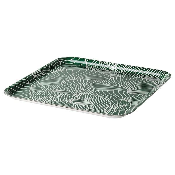 VINTERSNÖ Bricka, mönstrad/grön, 33x33 cm
