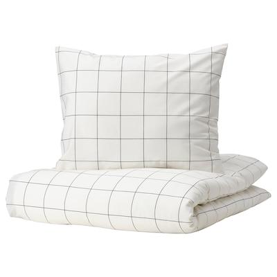VITKLÖVER Påslakan 1 örngott, vit svart/ruta, 150x200/50x60 cm