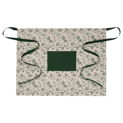 VITNOPPA Midjeförkläde, mönstrad/grön, 80x60 cm