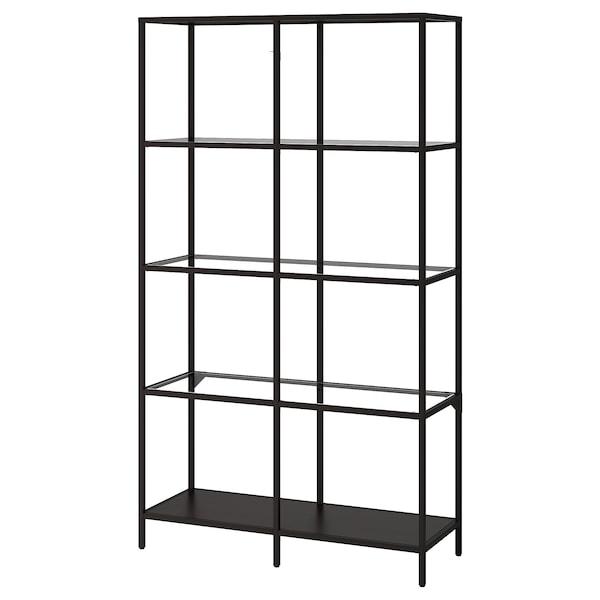 VITTSJÖ Hylla, svartbrun/glas, 100x175 cm