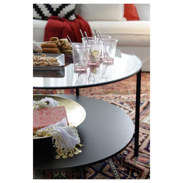 VITTSJÖ Soffbord, svartbrun/glas, 75 cm