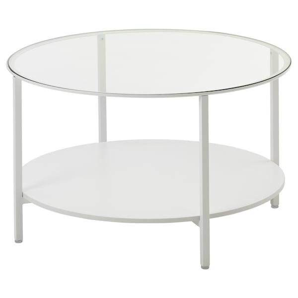 VITTSJÖ Soffbord, vit/glas, 75 cm