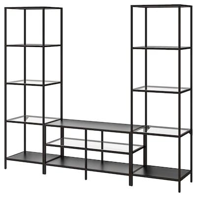 VITTSJÖ Tv-möbel, kombination, svartbrun/glas, 202x36x175 cm