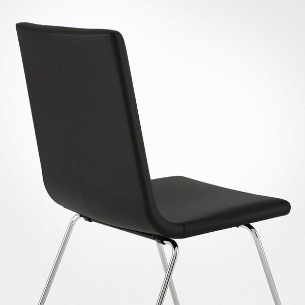 VOLFGANG Stol, förkromad/Bomstad svart
