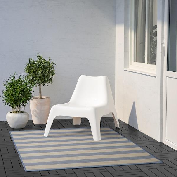 VRENSTED Matta slätvävd, inom-/utomhus, beige/ljusblå, 133x195 cm
