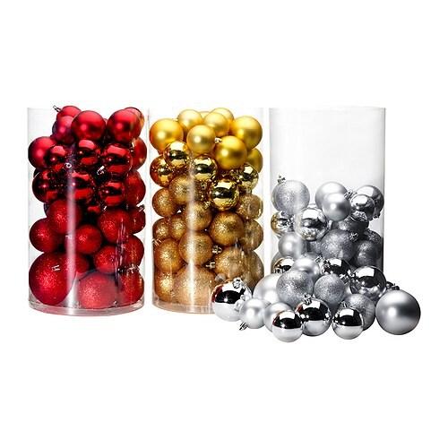 YRSNÖ Dekoration kula, set om 50, röd, guld-/silverfärgad