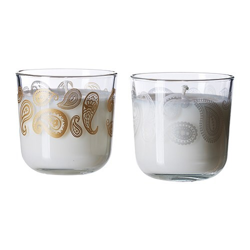 YRSNÖ Doftljus i glas, blandade mönster Höjd: 8 cm Brinntid: 25 tim.
