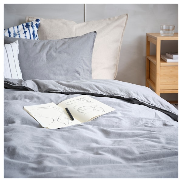 ÄNGSLILJA Duvet cover and pillowcase, grey, 150x200/50x80 cm