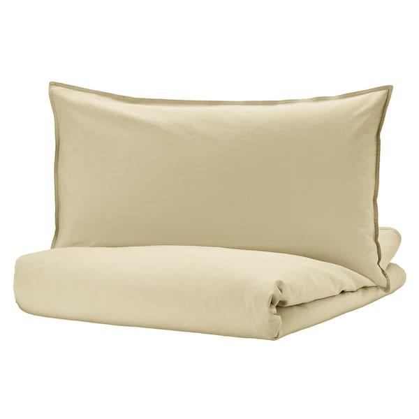 ÄNGSLILJA Duvet cover and pillowcase, light beige-green, 150x200/50x80 cm