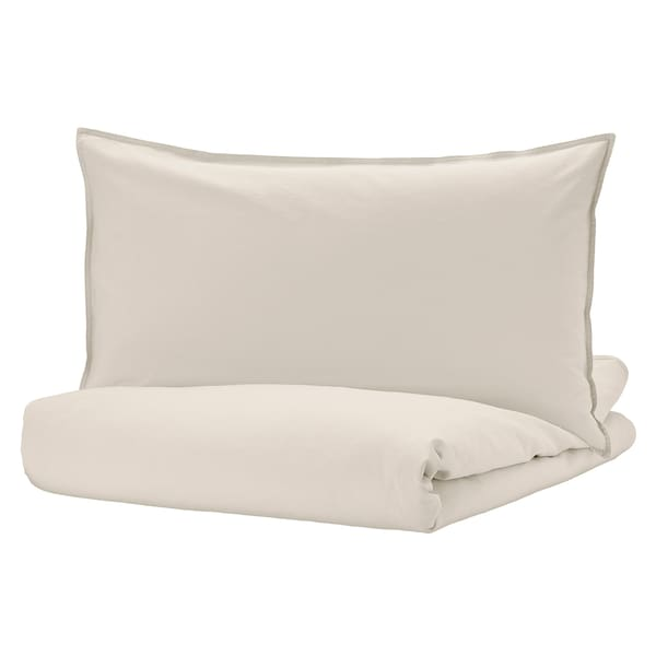 ÄNGSLILJA Duvet cover and pillowcase, light grey-beige, 150x200/50x80 cm