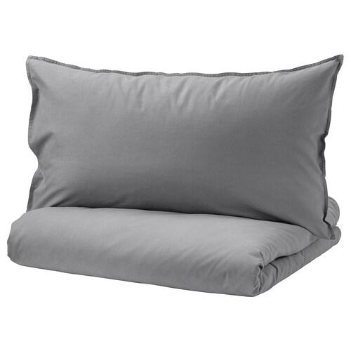 ÄNGSLILJA quilt cover and pillowcase grey 125 /inch² 1 pieces 200 cm 150 cm 50 cm 80 cm