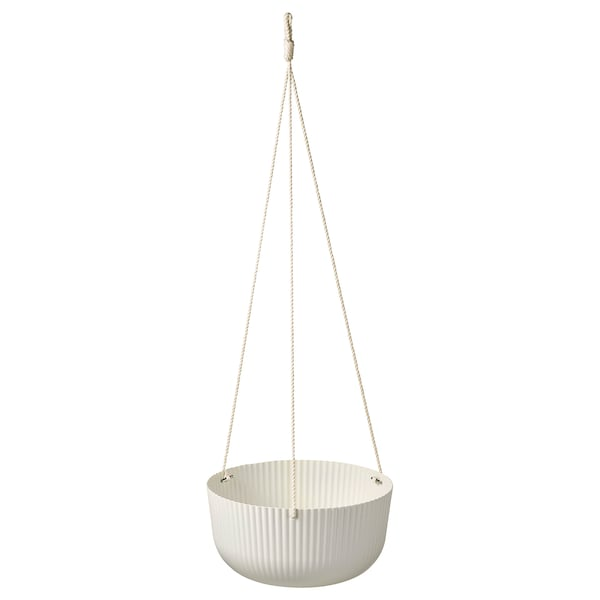 ÄPPELROS Hanging planter, in/outdoor off-white, 27 cm
