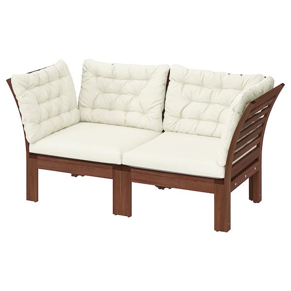 ÄPPLARÖ 2-seat modular sofa, outdoor, brown stained/Kuddarna beige, 160x80x80 cm