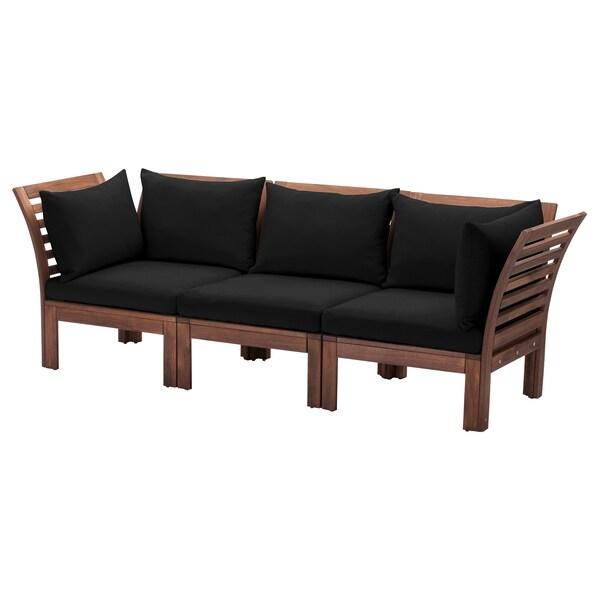 ÄPPLARÖ 3-seat modular sofa, outdoor, brown stained/Hållö black, 223x80x78 cm