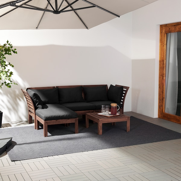 ÄPPLARÖ 3-seat modular sofa, outdoor, with footstool brown stained/Hållö black, 143/223x80x78 cm