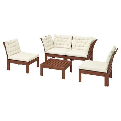 ÄPPLARÖ 4-seat conversation set, outdoor, brown stained/Kuddarna beige