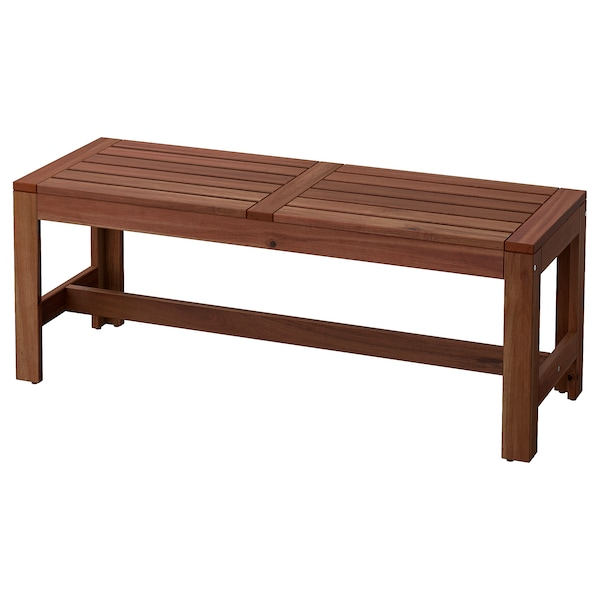 ÄPPLARÖ Bench, outdoor, brown stained, 114 cm
