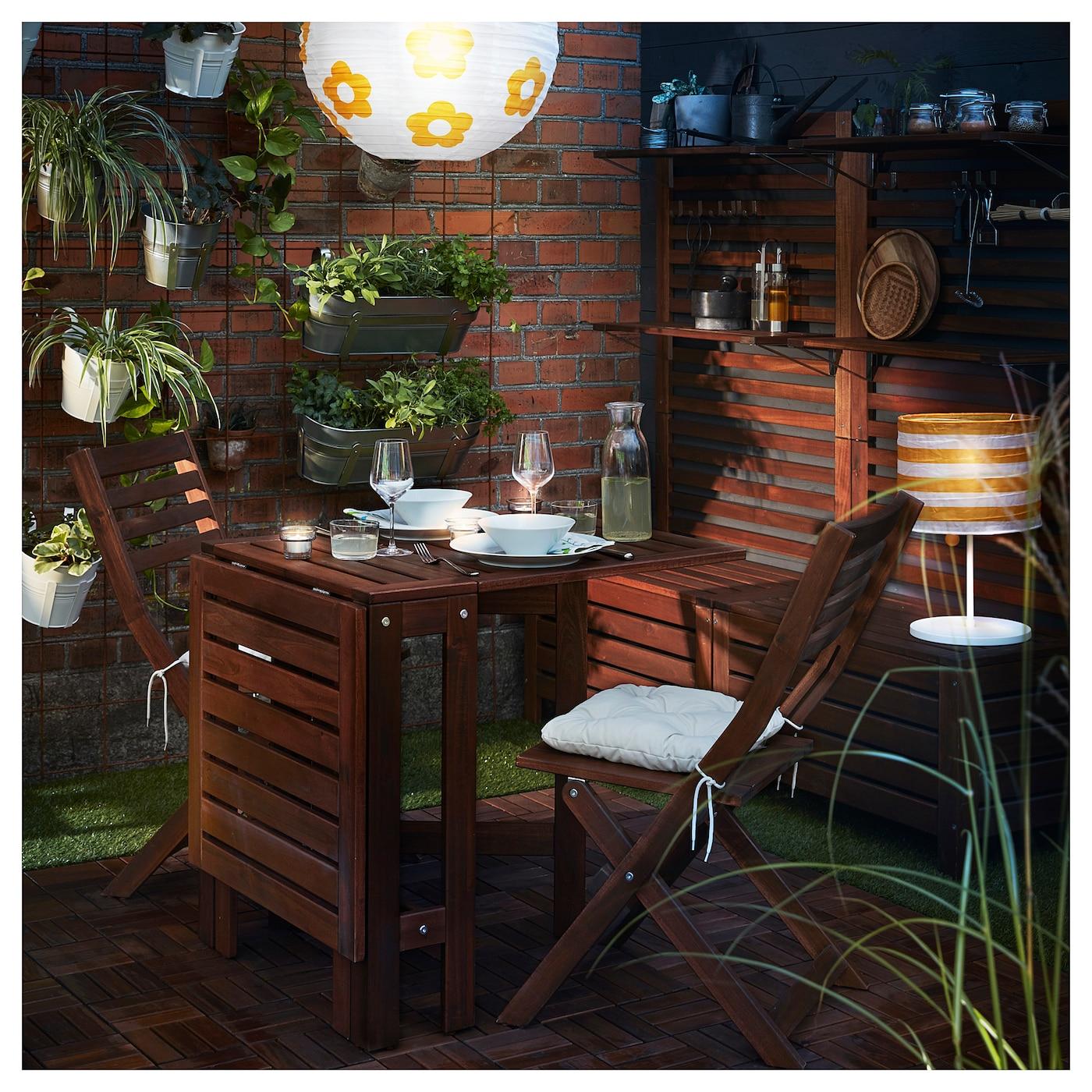 Outdoor Patio wood Brown NEW Ikea Applaro Folding Gateleg table for wall
