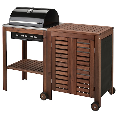 ÄPPLARÖ / KLASEN charcoal barbecue with cabinet brown stained 145 cm 58 cm 109 cm