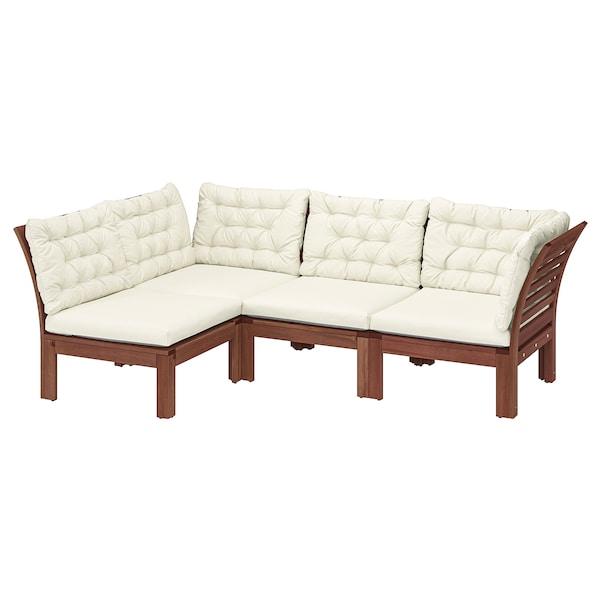 ÄPPLARÖ Modular corner sofa 3-seat, outdoor, brown stained/Kuddarna beige, 143/223x80x80 cm