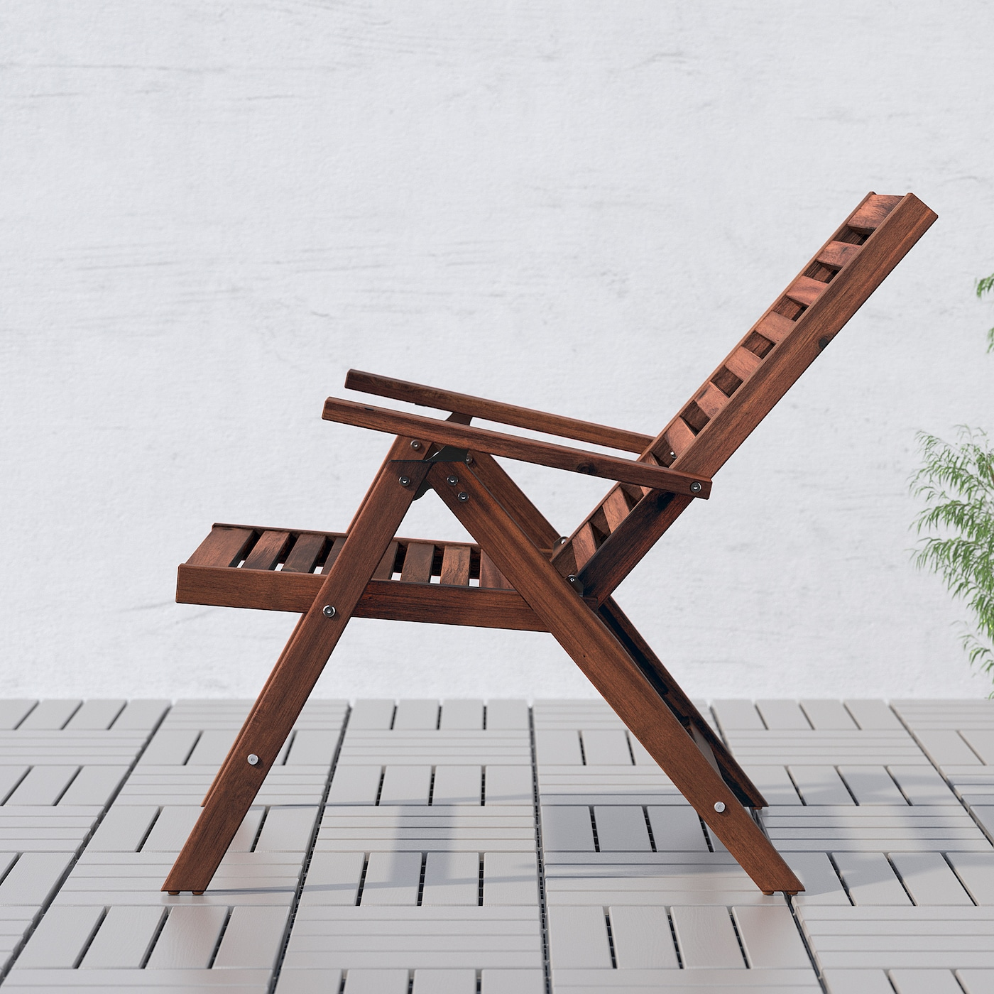 Applaro Reclining Chair Outdoor Foldable Brown Stained Ikea