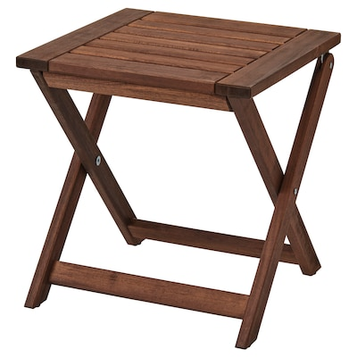 ÄPPLARÖ Stool, outdoor, foldable brown stained