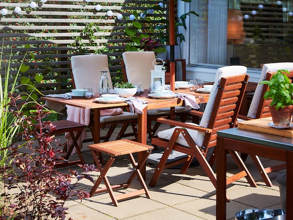 ÄPPLARÖ Stool, outdoor, foldable brown stained