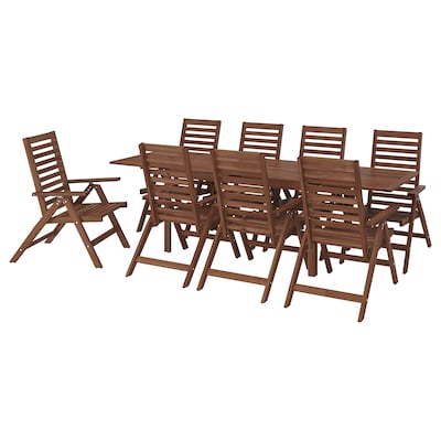 ÄPPLARÖ Table+8 reclining chairs, outdoor, brown stained