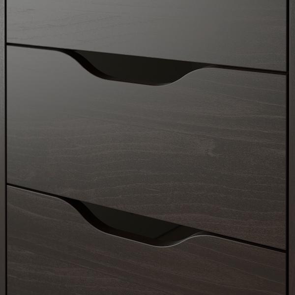 ALEX Drawer unit on castors, black-brown, 36x76 cm