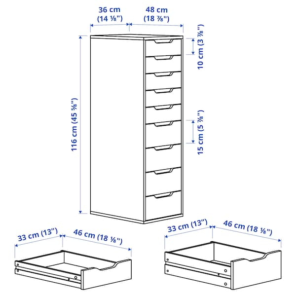 ALEX Drawer unit with 9 drawers, white stained/oak effect, 36x116 cm