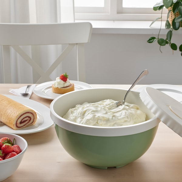 ALLEHANDA Mixing bowl with lid, green, 4 l