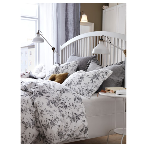 ALVINE KVIST Duvet cover and 2 pillowcases, white/grey, 200x200/50x80 cm