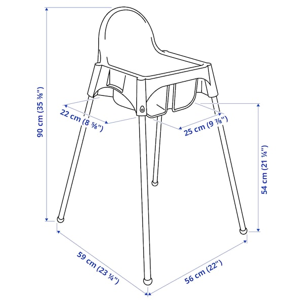 ANTILOP Highchair with safety belt, pink/silver-colour