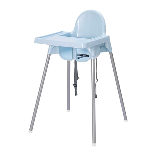 Antilop highchair with tray light blue silver colour ikea for High baby chair ikea