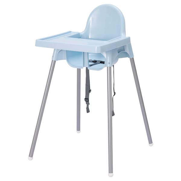 ANTILOP Highchair with tray, light blue/silver-colour