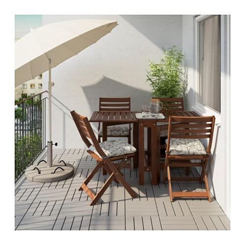 ÄPPLARÖ Table+4 Folding Chairs, Outdoor   Äpplarö Brown Stained/Hållö Black    IKEA