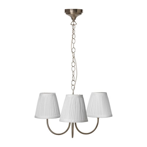ÅRSTID Pendant lamp, 3-armed IKEA The textile shade provides a diffused and decorative light.